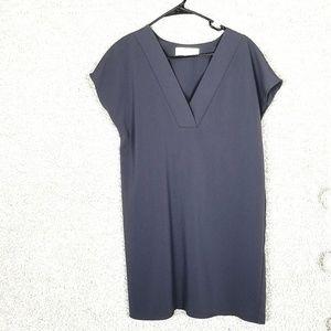 Amanda Uprichard Gray V-Neck Shirt Dress Small